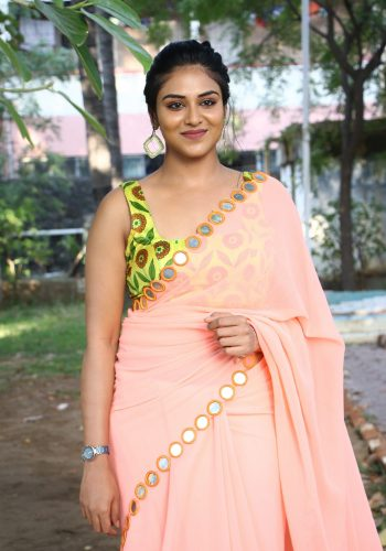 Magamuni Movie Actress Indhuja Ravichandran Hot Photos In Saree