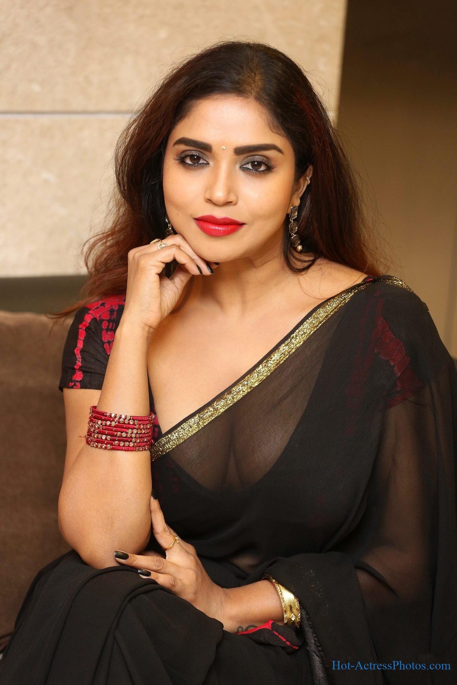 Karunya Chowdary Hot Cleavage Photos In Transparent Saree At 3 Monkeys Pre-Release Event