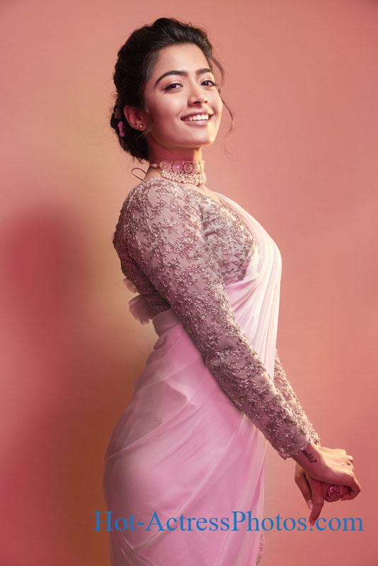 Rashmika Mandanna New Cute Photoshoot Stills In Pink Saree