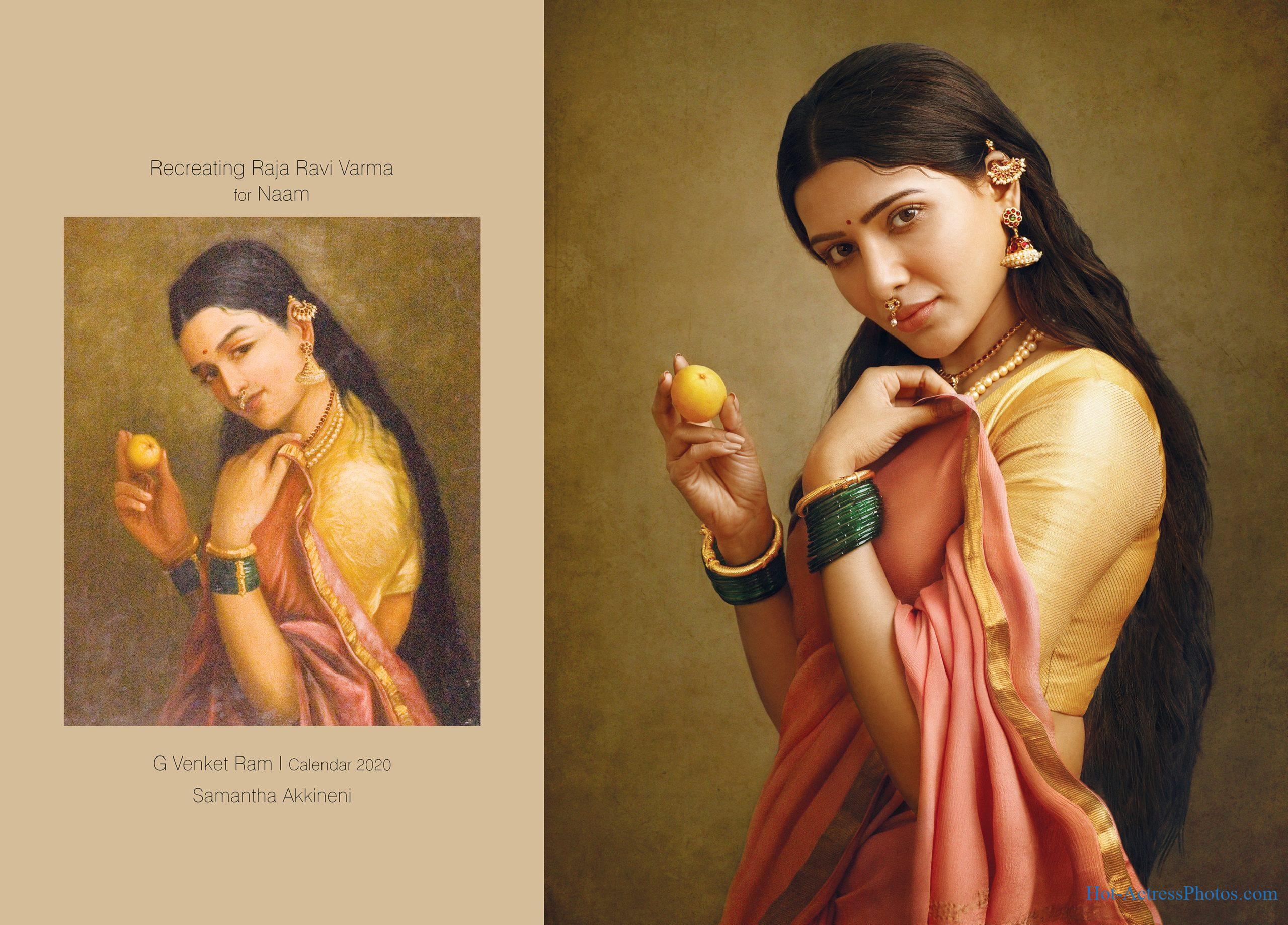 South Indian Actresses Portrait Raja Ravi Varma's Painting in G Venket Ram's Calendar 2020