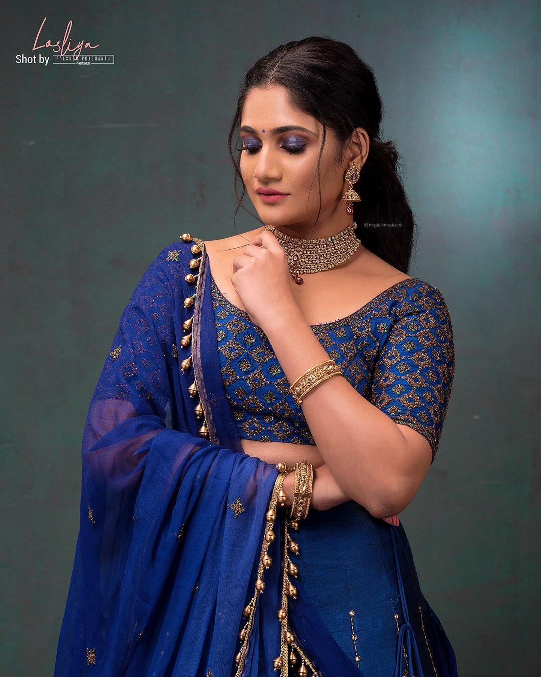 Losliya Mariyanesan Hot Photos In Blue Lehenga