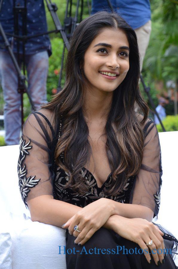 Pooja Hegde Hot Photos in Black Dress At Valmiki Movie Press Meet