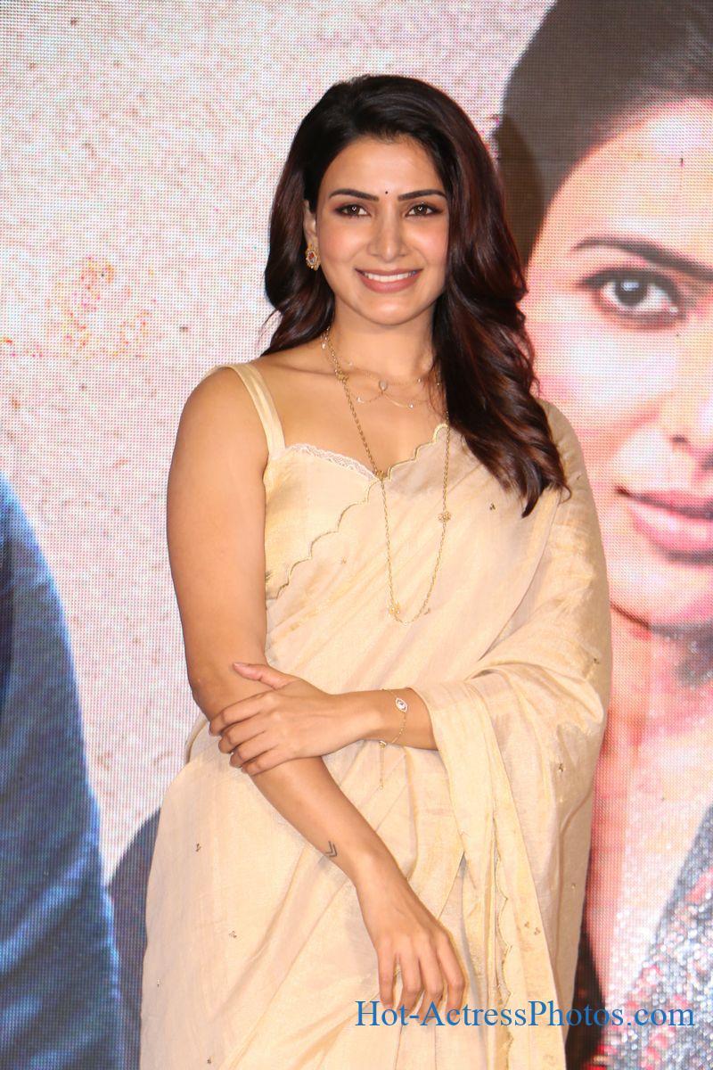 Samantha Hot Images In  Saree At Jaanu Movie Trailer Launch