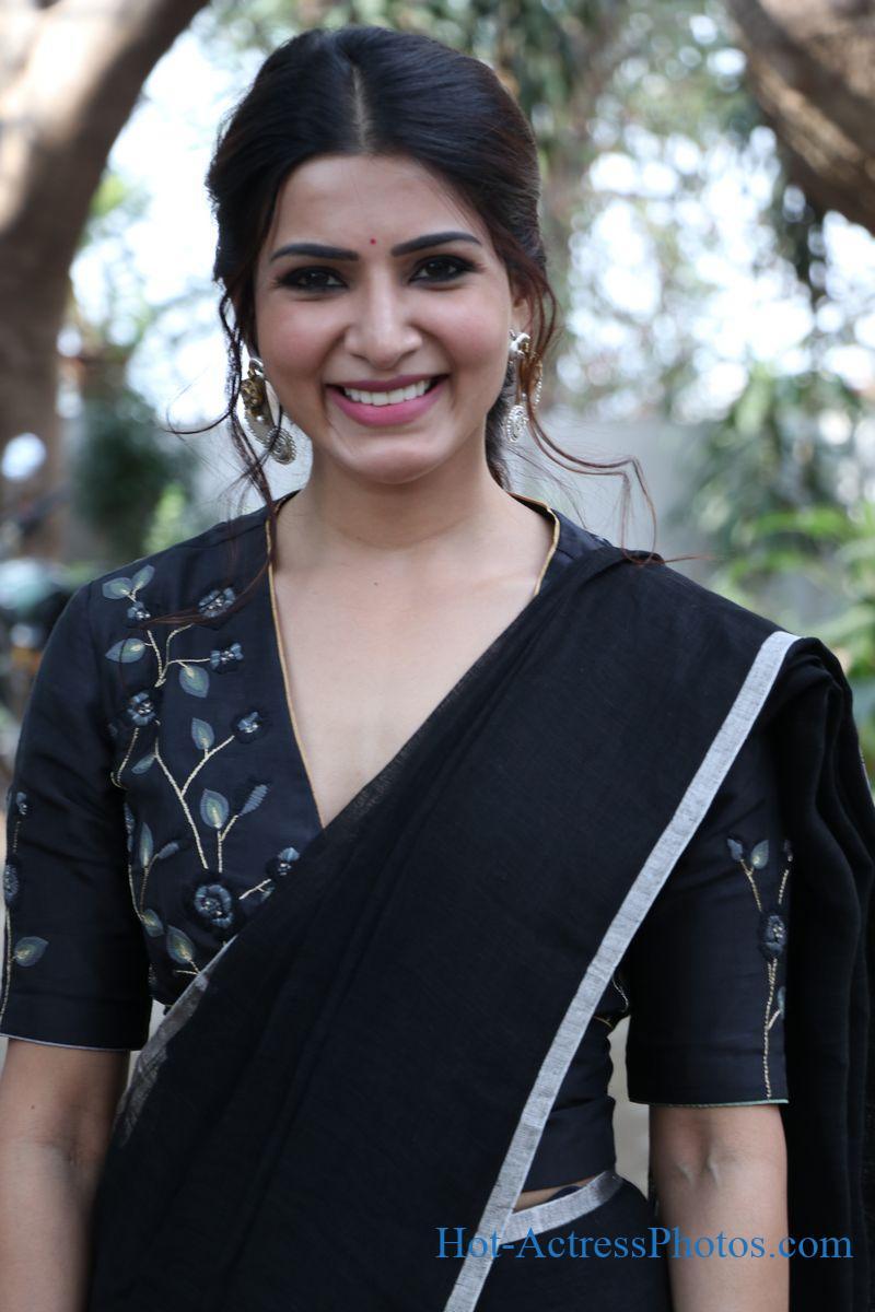 Samantha Hot Photos In Black Saree At Jaanu Press Meet