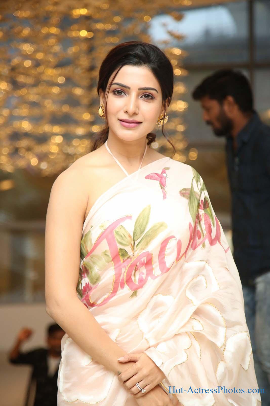 Samantha Hot Photos In Blouseless Saree At Jaanu Thank You Meet